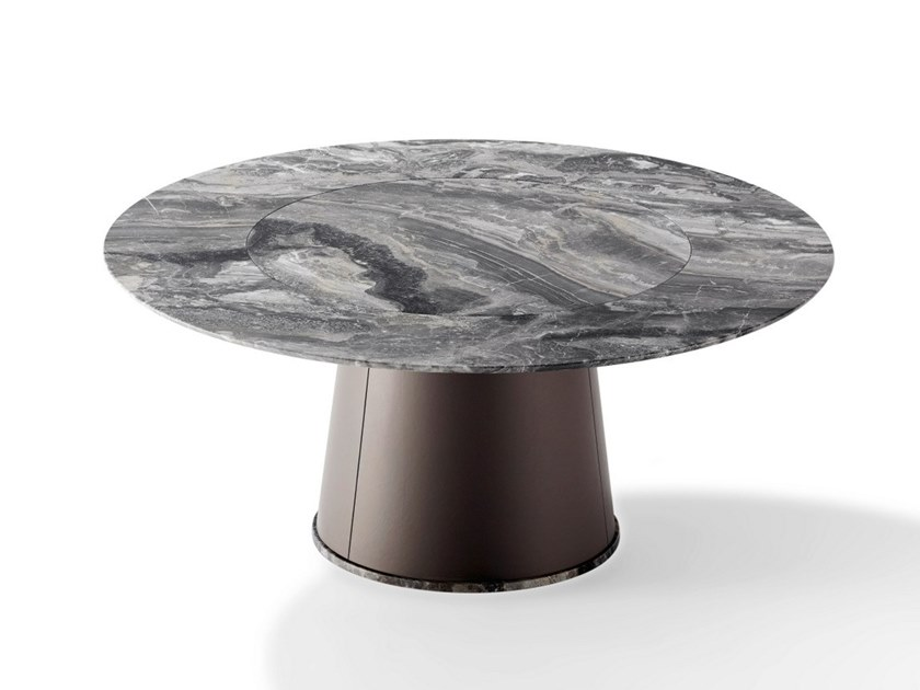 Round natural stone table with Lazy Susan TADAO   Natural stone table by Draenert