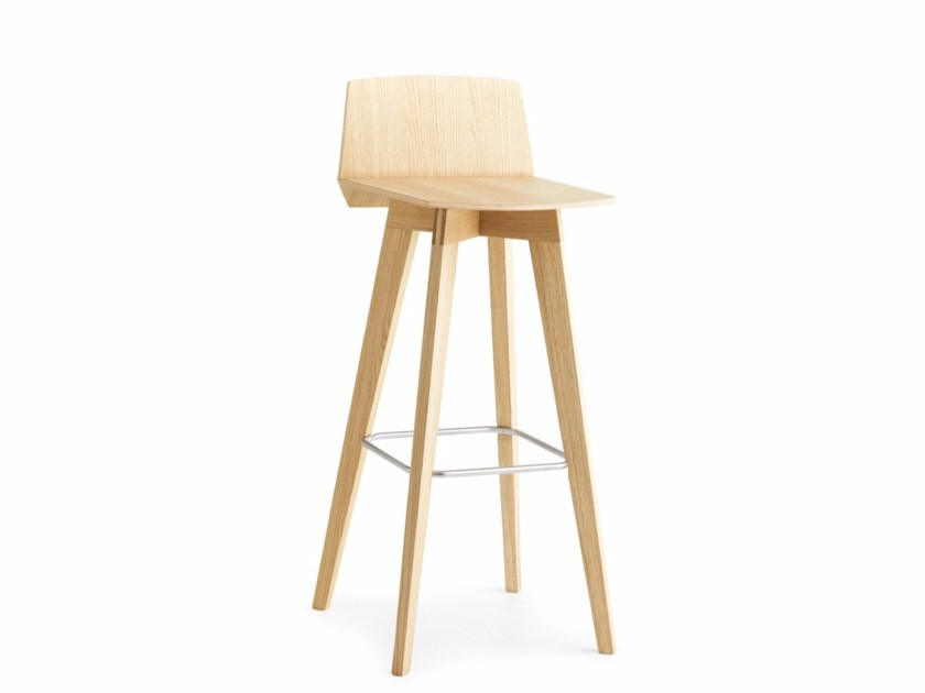 High Wooden Stool With Footrest Tail L H 65 75 By Poni