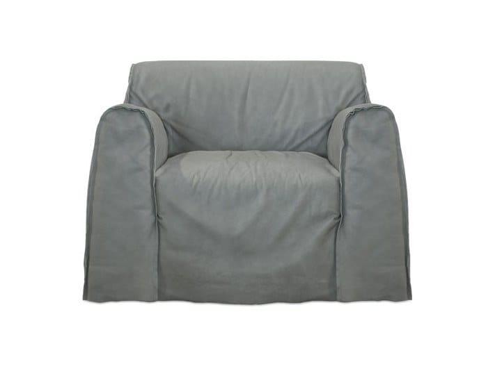 Leather garden armchair with armrests TAIPEI | Garden armchair by BAXTER