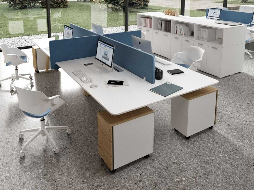 Multiple office workstation with desk screens TAKE OFF EVOLUTION COUNTRY | Office workstation by Bralco