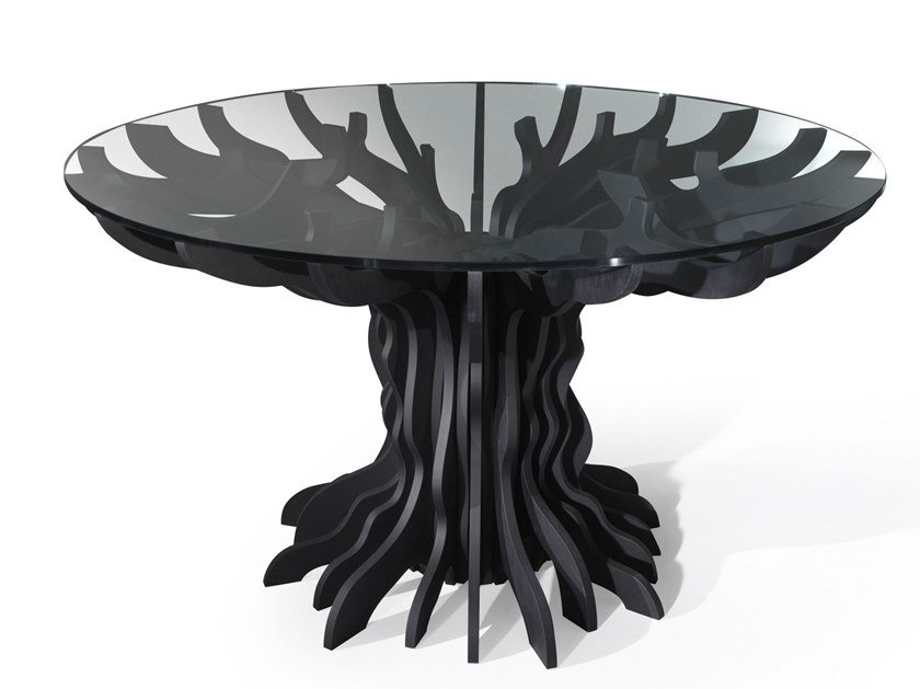 Round table in birch and crystal TALE   Table by ALBEDO