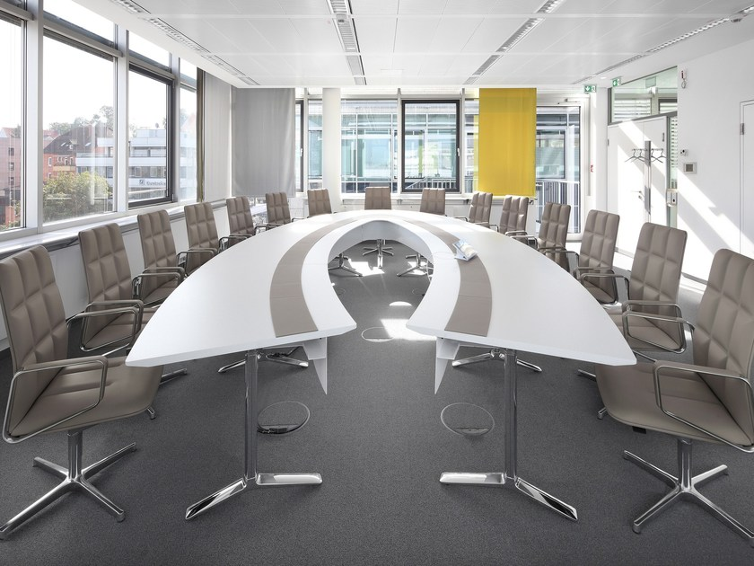 Modular oval wooden meeting table TALK   Oval meeting table by RENZ