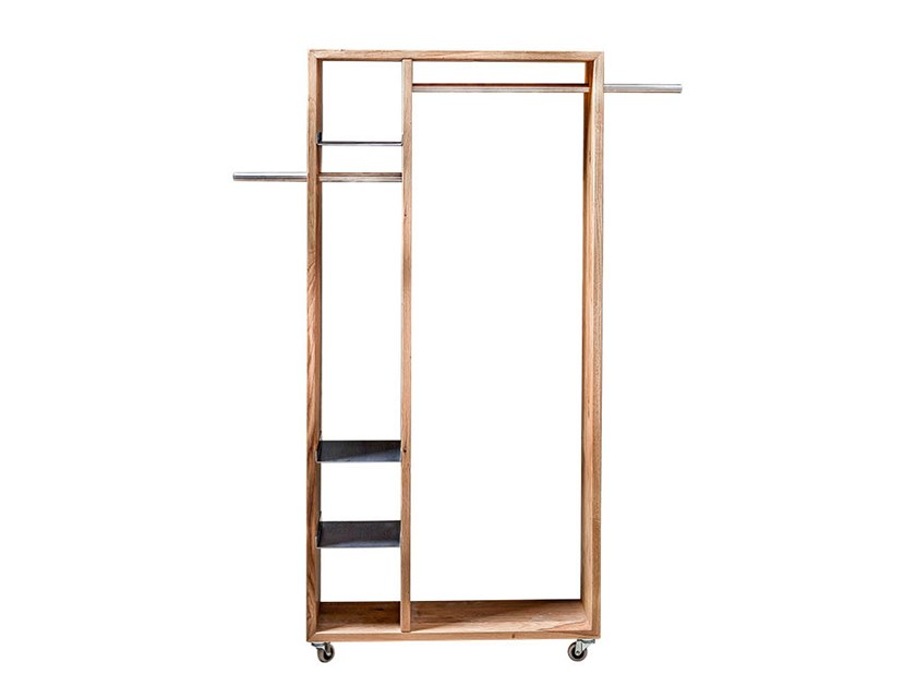 Solid wood hallway unit with casters TALUS | Coat rack by designimdorf