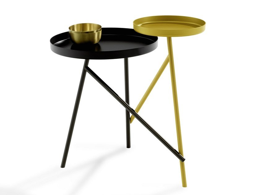Round metal coffee table with tray TANGO by Draenert