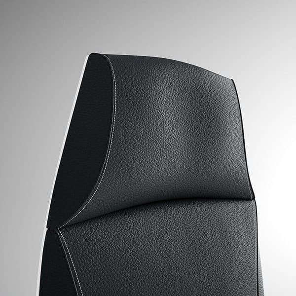 TAO Poltrona ufficio direzionale con schienale alto - Particolare poltrona direzionale alta, movimento syncro, autopesante, comfort, elevazione a gas - Impunture e schienale in colore Antracite