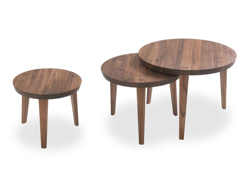 Round solid wood coffee table TAO by Riva 1920