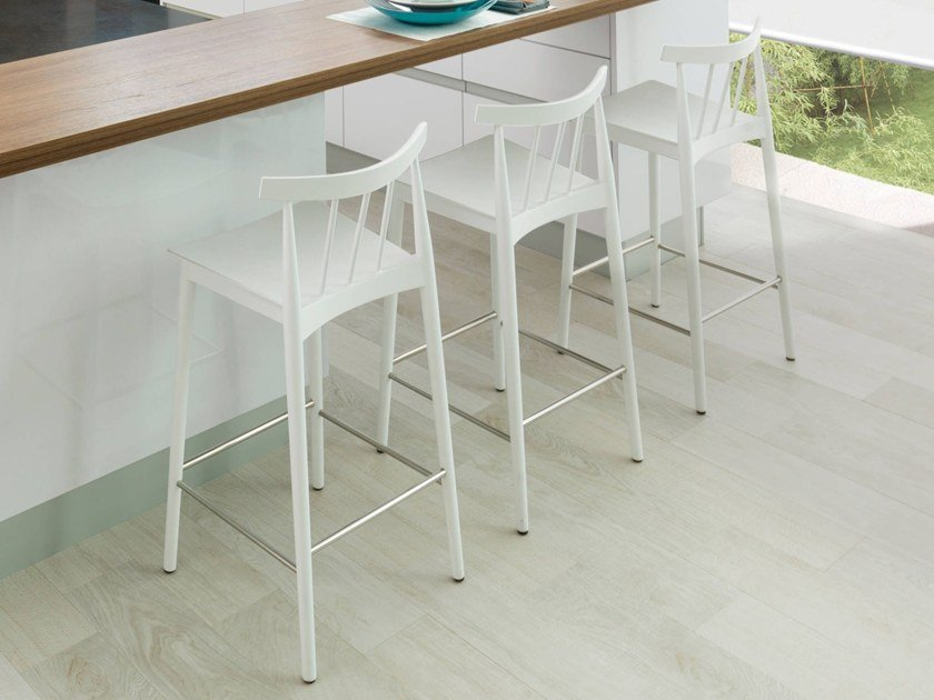 High wood veneer stool with back with footrest TAO | Stool with back by Gamadecor