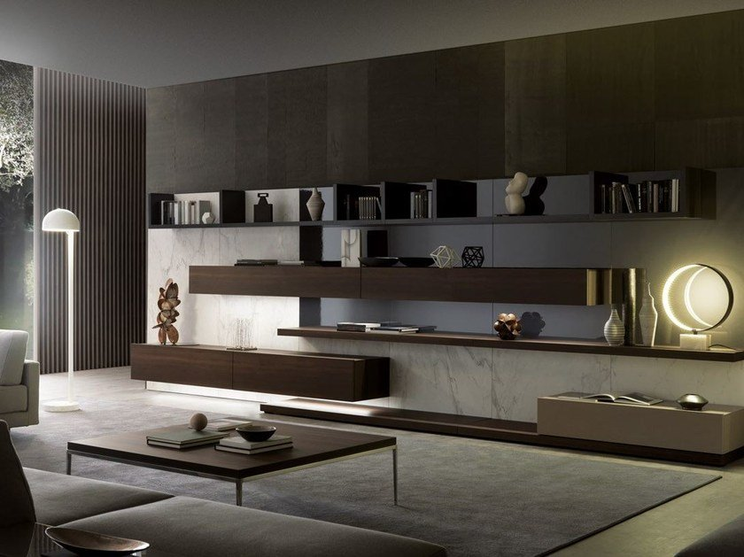 Sectional storage wall with integrated lighting TAO10 by MisuraEmme