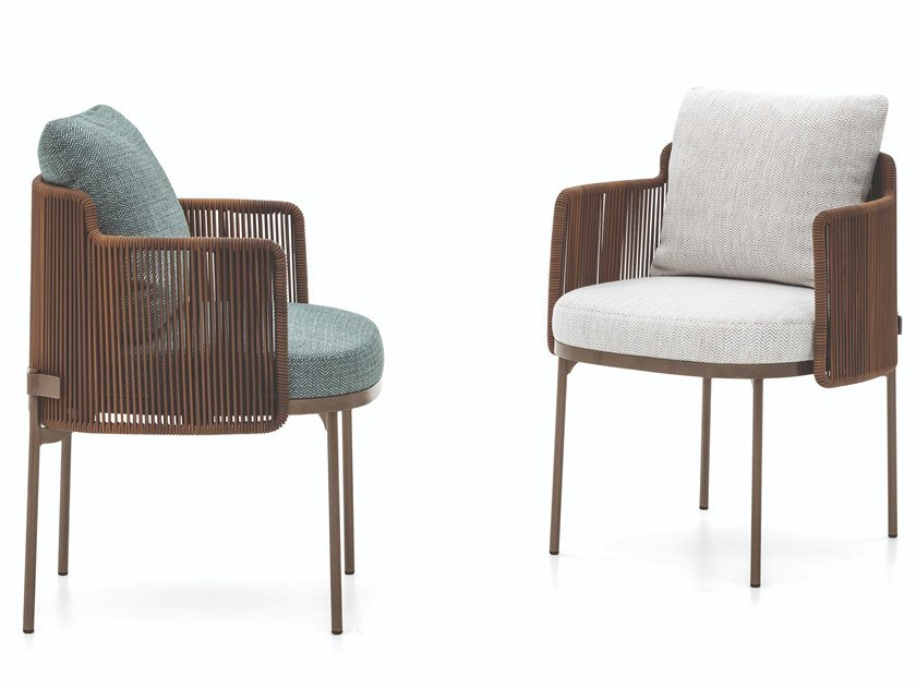Upholstered fabric garden chair with armrests TAPE CORD OUTDOOR | Chair with armrests by Minotti