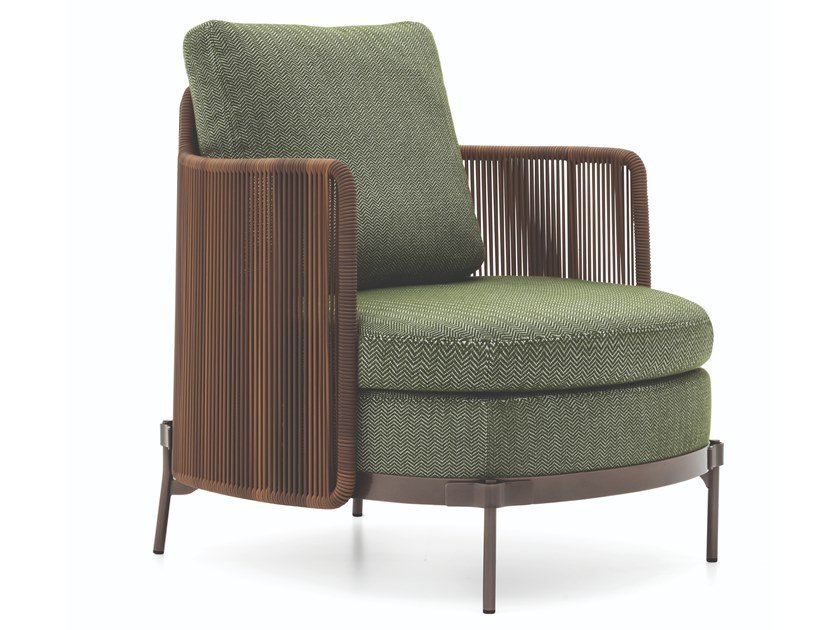 Fabric garden armchair with armrests TAPE CORD OUTDOOR | Garden armchair with armrests by Minotti