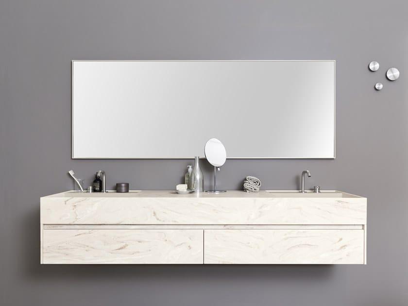 Lavabo doppio rettangolare in Corian® con piano TAPE TOP by Rexa Design