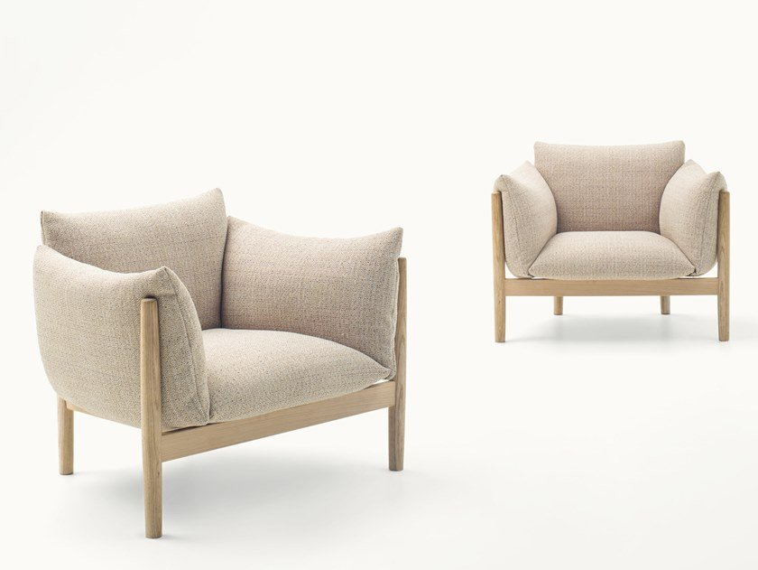 Fabric armchair with removable cover with armrests TAPIO by paola lenti