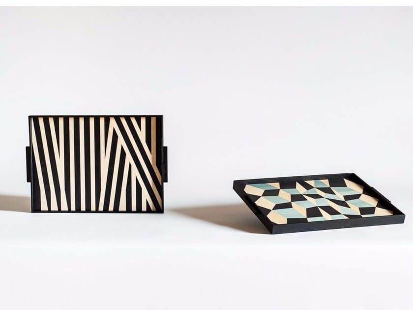 Rectangular wooden tray TARSIA by Tacchini Edizioni
