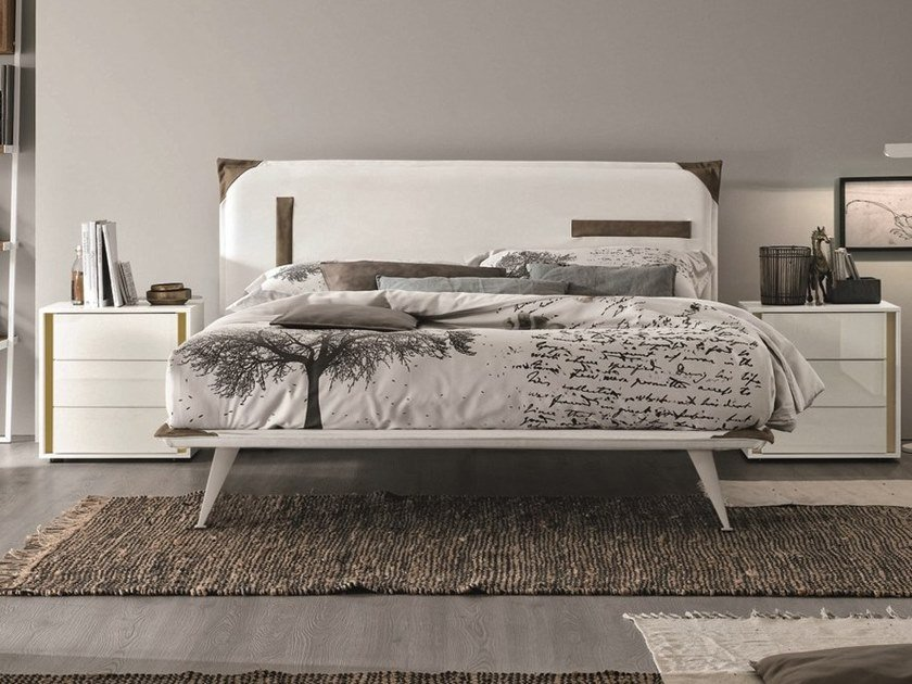 Contemporary style upholstered leather double bed with upholstered headboard TASCA by Gruppo Tomasella