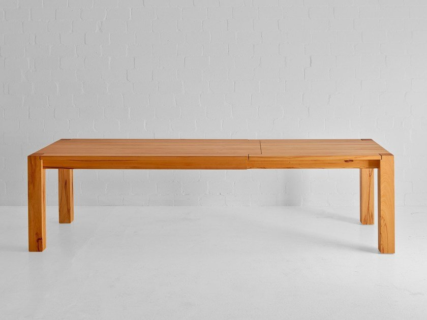 Extending rectangular solid wood table TAURUS BUTTERFLY by Vitamin Design