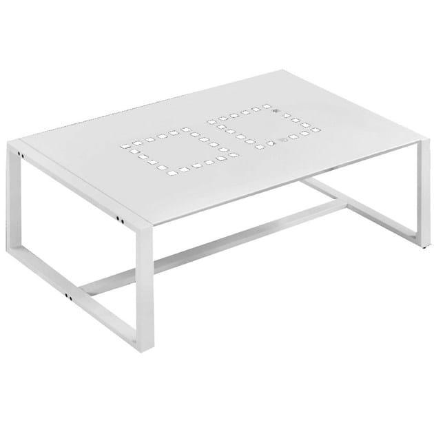 Rectangular aluminium garden side table with light TAVOLINO RETTANGOLARE LOTO   Garden side table by Mediterraneo by GPB