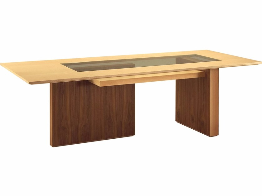 Rectangular wooden table CARTESIA | Wood and glass table by Morelato
