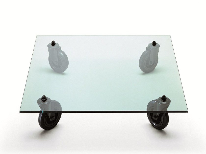 Square float glass coffee table with casters TAVOLO CON RUOTE by FontanaArte