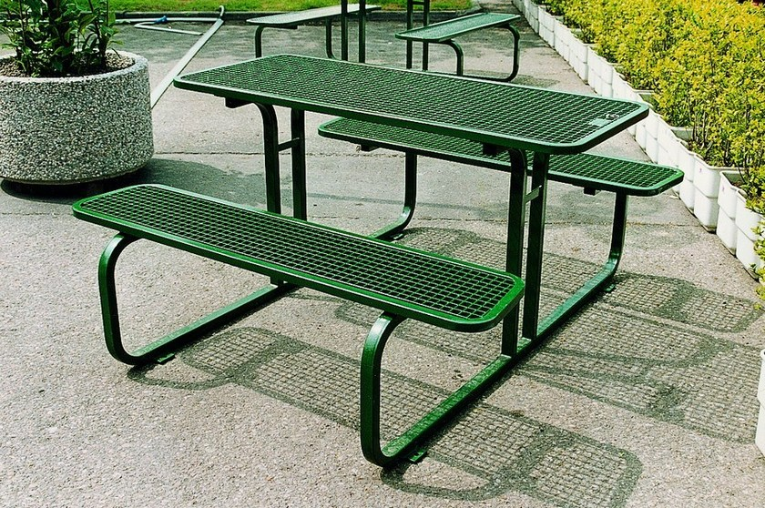 Rectangular steel Table for public areas with integrated benches TAVOLO DRINK 01 by SMEC