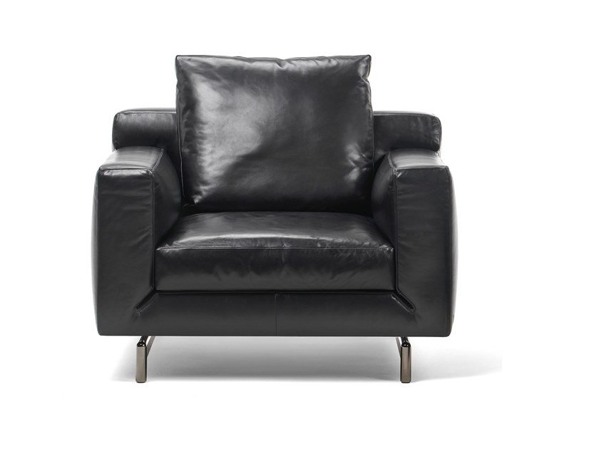Leather armchair with armrests TAYLOR | Leather armchair by Busnelli