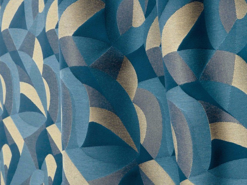 Washable multi-colored Trevira® CS fabric with graphic pattern TCHIN by LELIEVRE