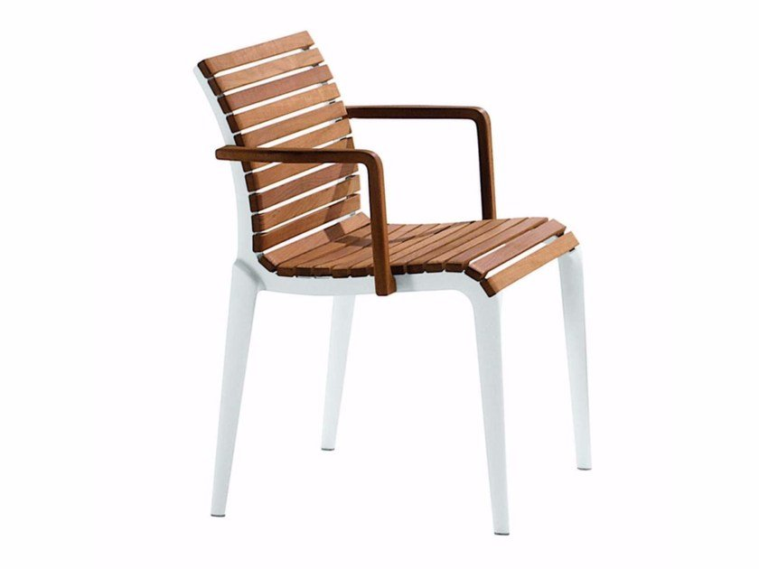 Aluminium and wood chair with armrests TEAK CHAIR - 476_O by Alias