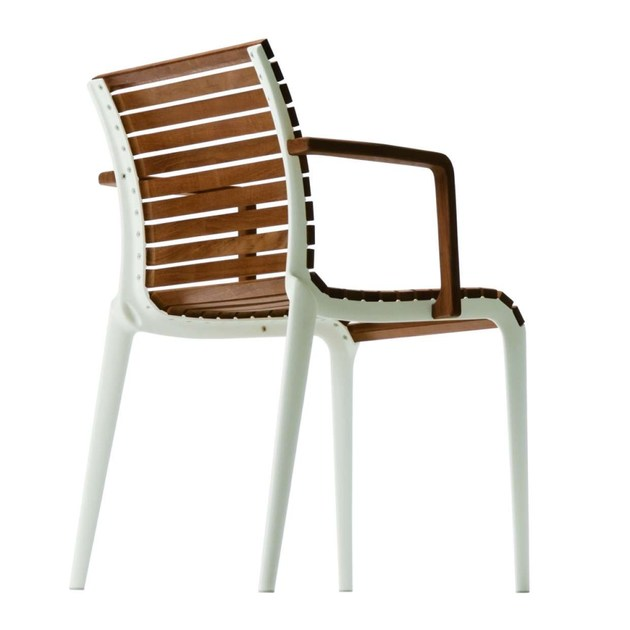 Aluminium And Wood Chair With Armrests TEAK CHAIR   476_O By Alias