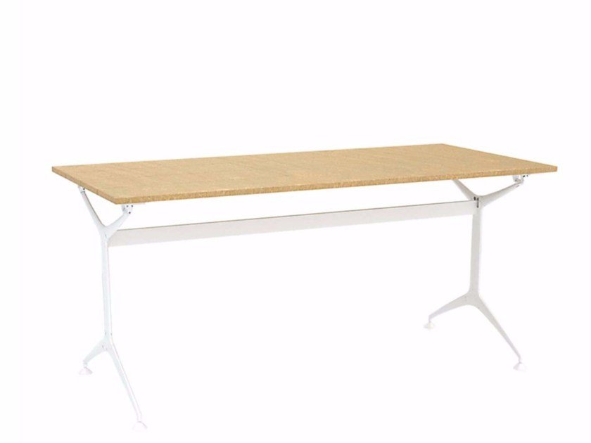 Rectangular Aluminium And Wood Garden Table TEAK TABLE - Teak and aluminium outdoor table