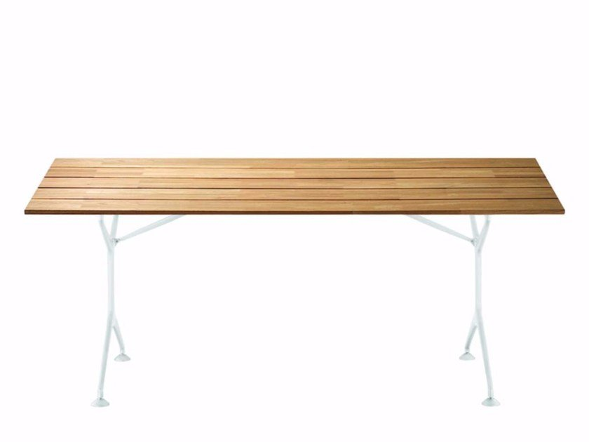 Folding Rectangular Aluminium And Wood Garden Table TEAK TABLE F - Teak and aluminium outdoor table