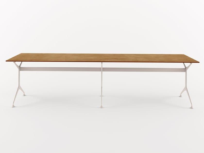 Rectangular aluminium and wood garden table TEAK TABLE 300 - 486_300_O by Alias