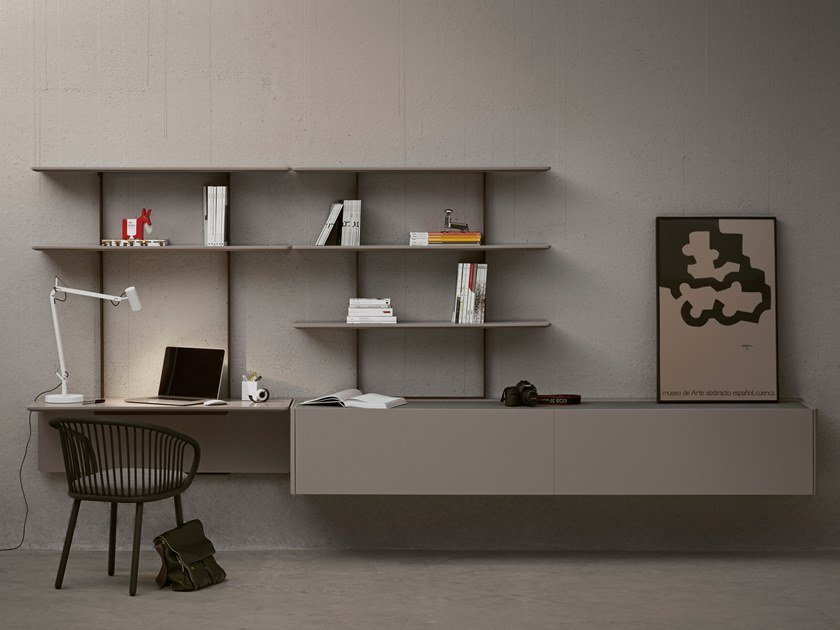 Solid wood storage wall with secretary desk TEAM by EXPORMIM