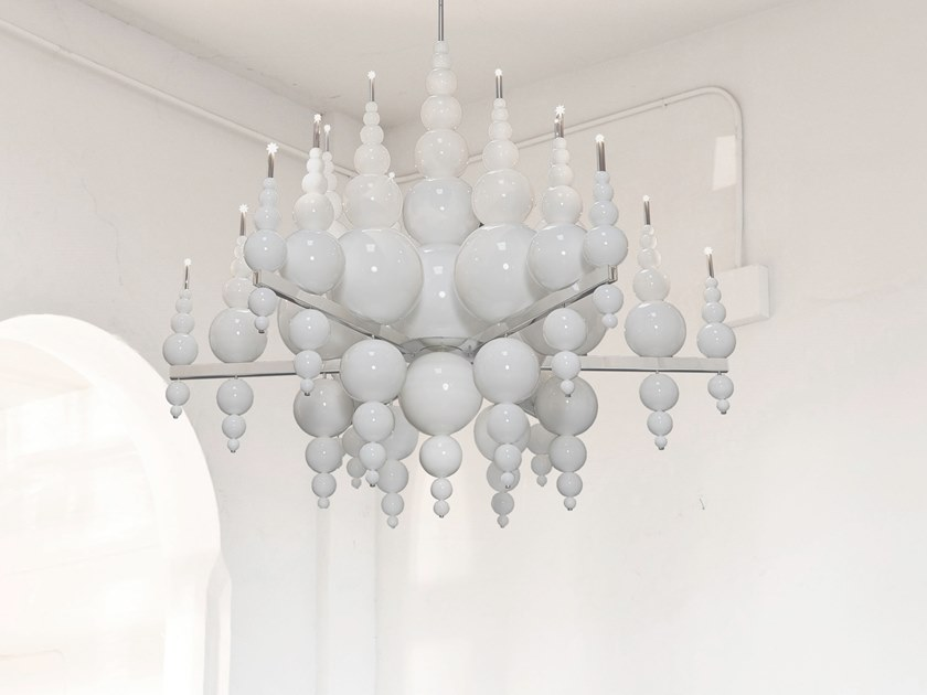 Indirect light glass chandelier TEARS FROM MOON H18 XXL by ILFARI