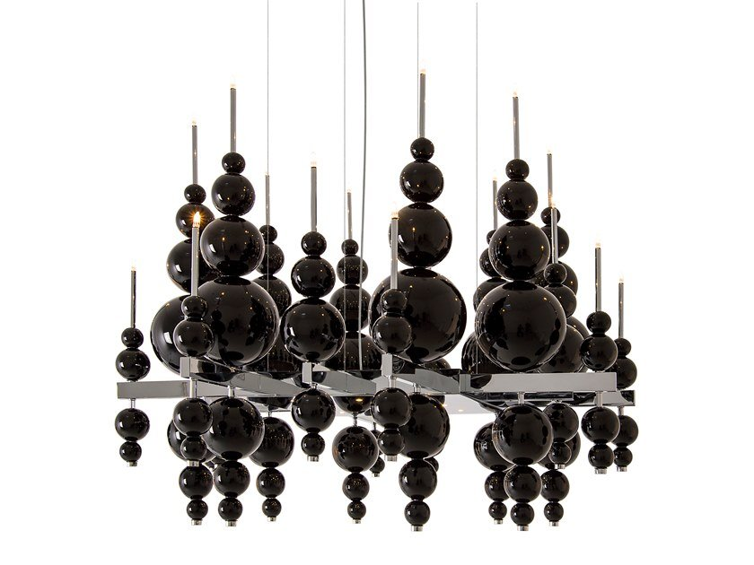 Direct-indirect light glass pendant lamp TEARS FROM MOON H20+9 by ILFARI