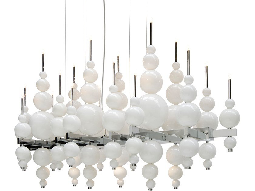 Direct-indirect light glass pendant lamp TEARS FROM MOON H22+3 by ILFARI
