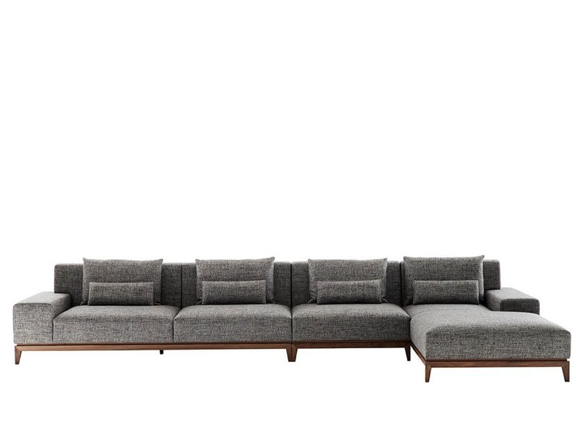 Fabric sofa with chaise longue TEATRO | Sofa with chaise longue by HC28