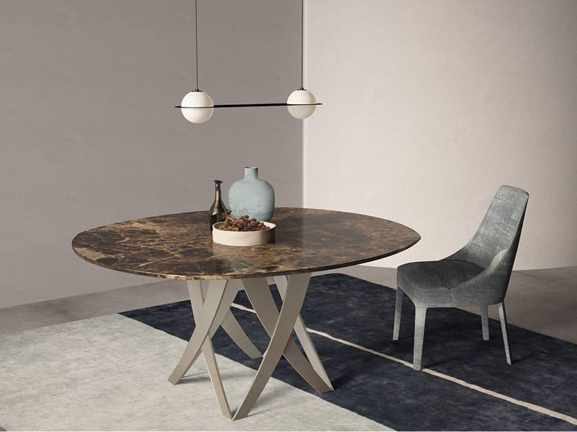 Oval Dark Emperador marble table TEBE | Oval table by International Marmi