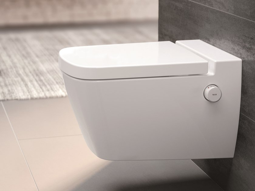 Wall-hung ceramic toilet with bidet TECEone by TECE