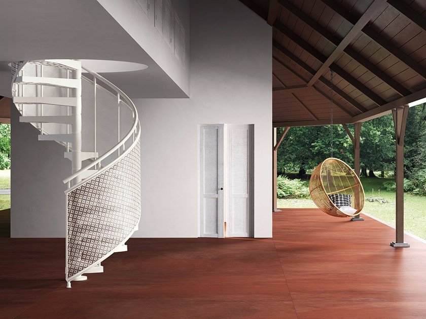Technopolymer Spiral staircase TECHNE SKIN by Fontanot