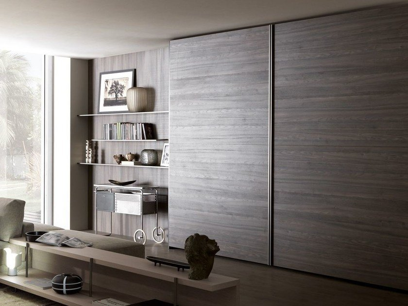 Sectional wardrobe with coplanar doors TECNO WOOD | Wardrobe with coplanar doors by MisuraEmme