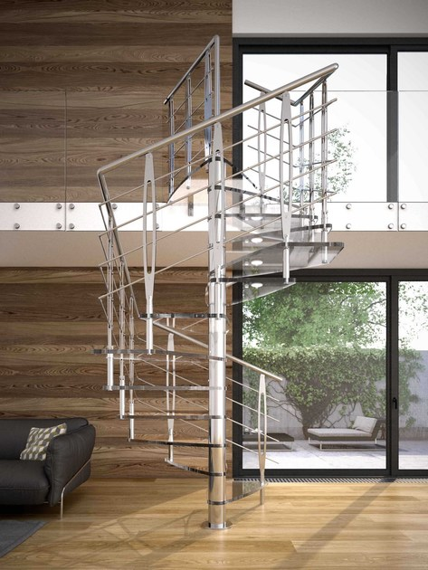 Square Glass Spiral Staircase TEKLA GLASS By RINTAL