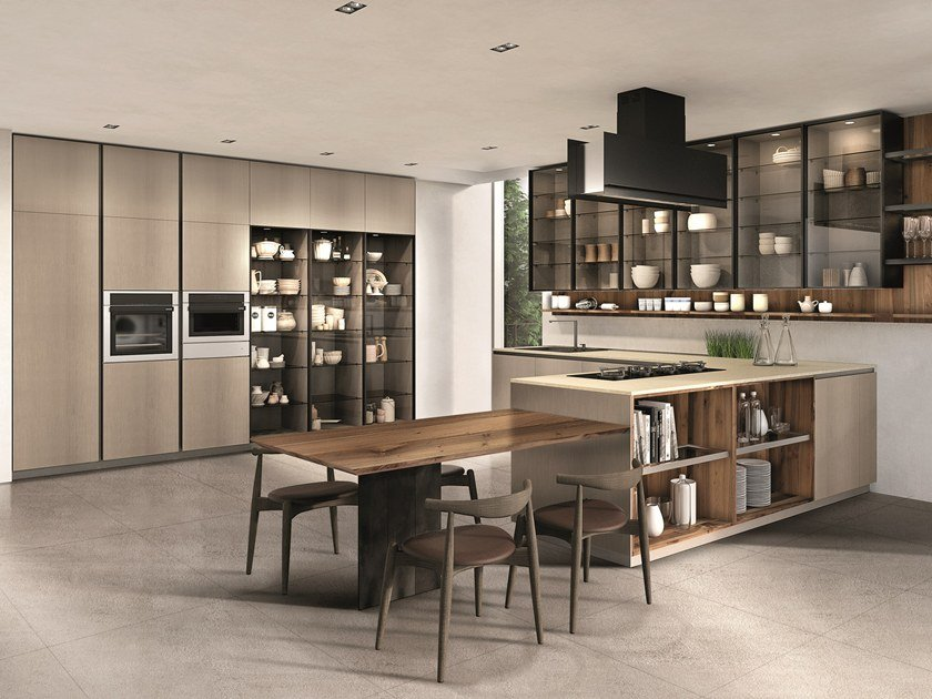 Lacquered kitchen with peninsula TELERO | Kitchen with peninsula by Euromobil