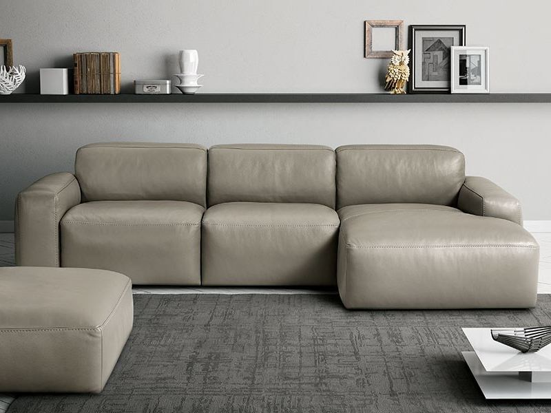 Bon Leather Sofa With Chaise Longue TEMPO | Sofa With Chaise Longue By Franco  Ferri Italia
