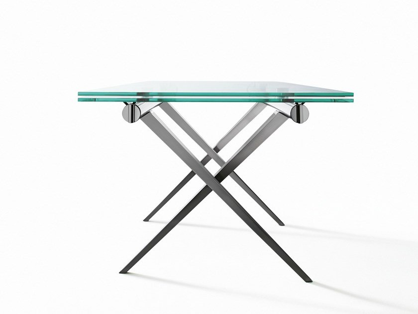 Extending rectangular crystal and steel table TENDER by Desalto