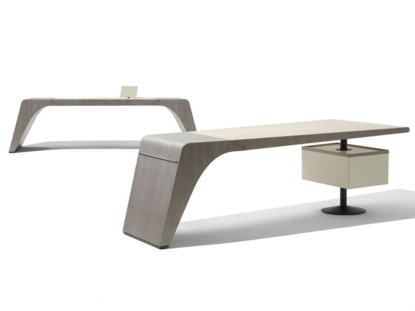 Rectangular tanned leather writing desk TENET by GIORGETTI