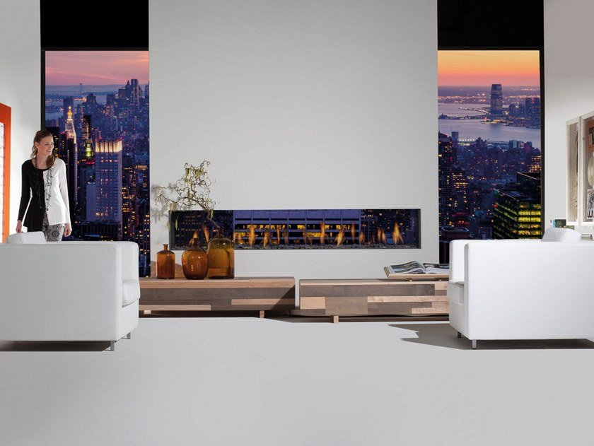 Double-sided gas steel fireplace with panoramic glass TENORE by RÜEGG