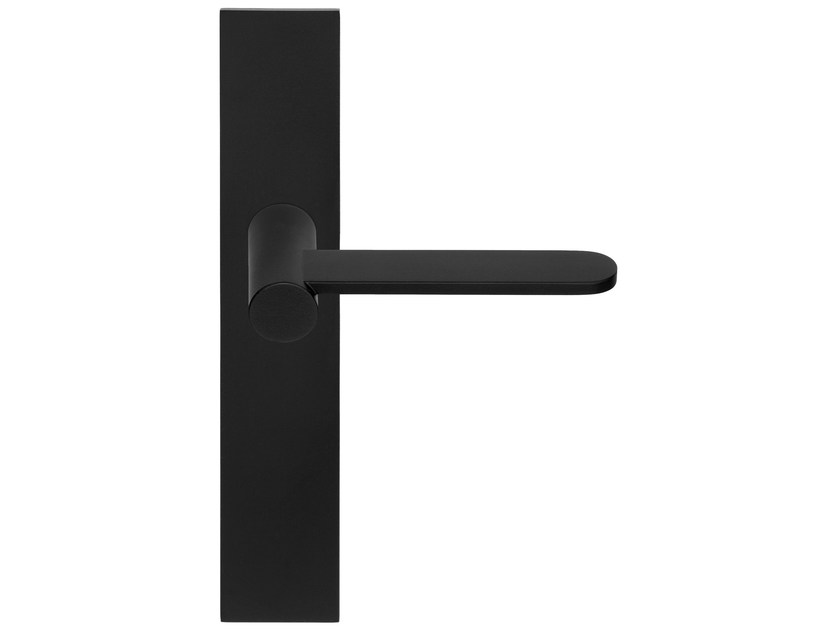 Stainless steel door handle with brushed finishing on back plate TENSE BB102P236 | Door handle by Formani