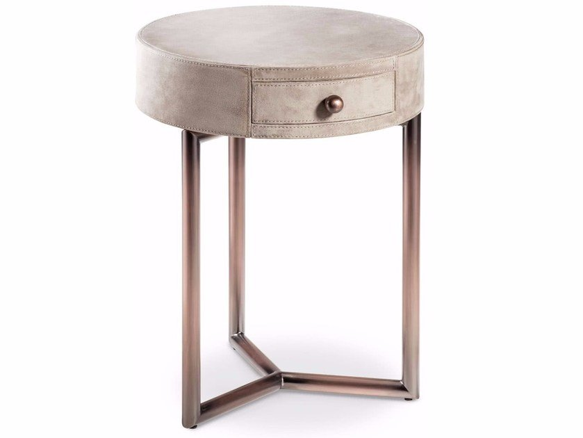 Round Bedside Table With Drawers Teo By Cantori
