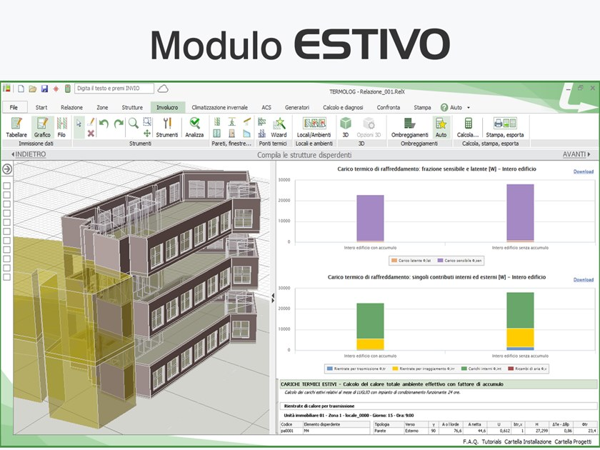 Calculation of summer air-conditioning system TERMOLOG - Modulo ESTIVO by LOGICAL SOFT