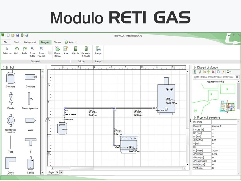 CAD-integrated building services calculation software TERMOLOG - Modulo RETI GAS by LOGICAL SOFT