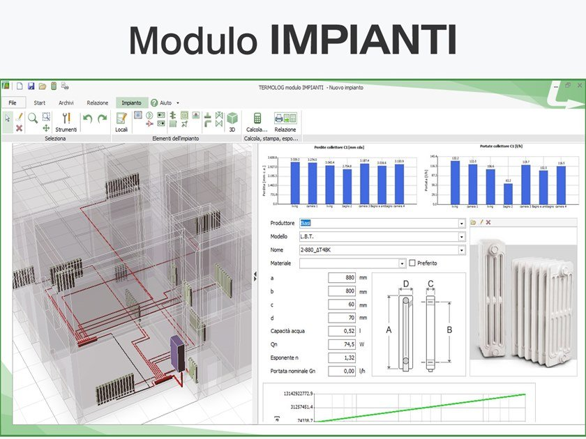 CAD-integrated building services calculation software TERMOLOG - Modulo IMPIANTI by LOGICAL SOFT